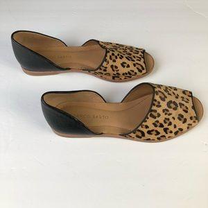 Franco Sarto Leopard Peep-Toe d'Orsay Flats Sz 6M